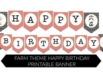INSTANT FARM THEME Happy Birthday Printable Accent Banner