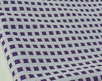 Purple and White Checkered Polyester Fabric