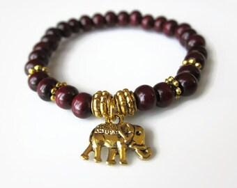 Gold Elephant Bracelet,  Charm Bracelet Womens Girls, wooden bead bracelet, antique gold, Boho bracelet