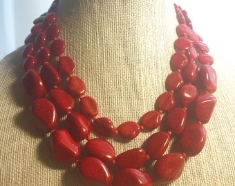 Red Necklace and earrings set, multi strand, two layers, handmade gift idea, Christmas gift.