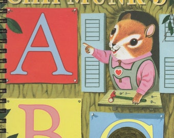 Journal- Richard Scarry's Chipmunks ABC - Made from repurposed Little Golden Book