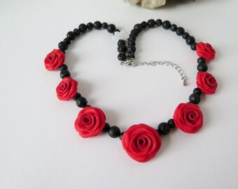 Rose Necklace Red roses and lava