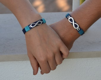matching couple bracelets, his and hers bracelet, set of infinity bracelets, couples infinity jewelry, bride and groom gift