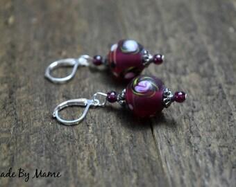 Glass Boho Beaded Earrings, Mauve Lampwork Glass Floral Beads, Garnet Gemstone, Dark Red Earrings, Bohemian, Gypsy, Sterling Silver, Shabby
