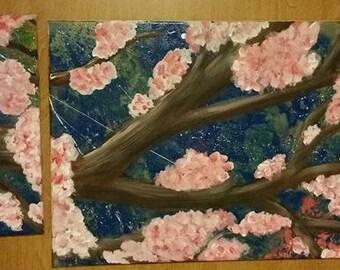 Three piece flower original canvas set