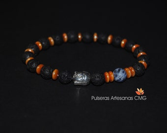FREE SHIPPING - Lava stone, Solidarita, Buddha, discs Czech Crystal Apricot Orange / Security and Stability, Freedom, Serenity