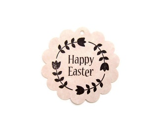 "2.25"" Happy Easter Gift Tags/ Hang Tags/ Gift Labels/ Hanging Labels / Scalloped Round Tags / Die cut/ Scrapbooking / Shell Pink / Set of 20"