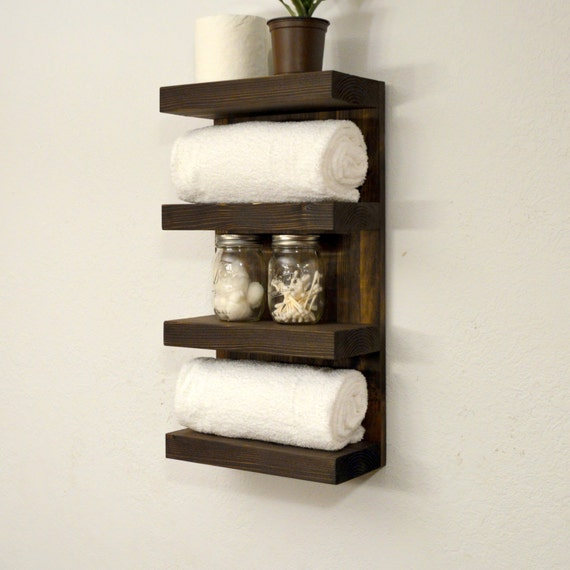 Bathroom towel rack 4 tier bath storage by rusticmoderndecor for Bathroom towel racks
