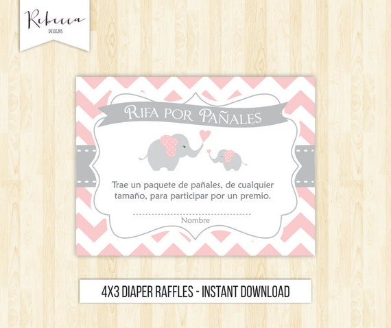 Diaper Raffle Tickets In Spanish Rifas Para Pañales Baby Shower In Spanish  Card Elephant Diaper Raffle Tickets Diaper Raffle 105