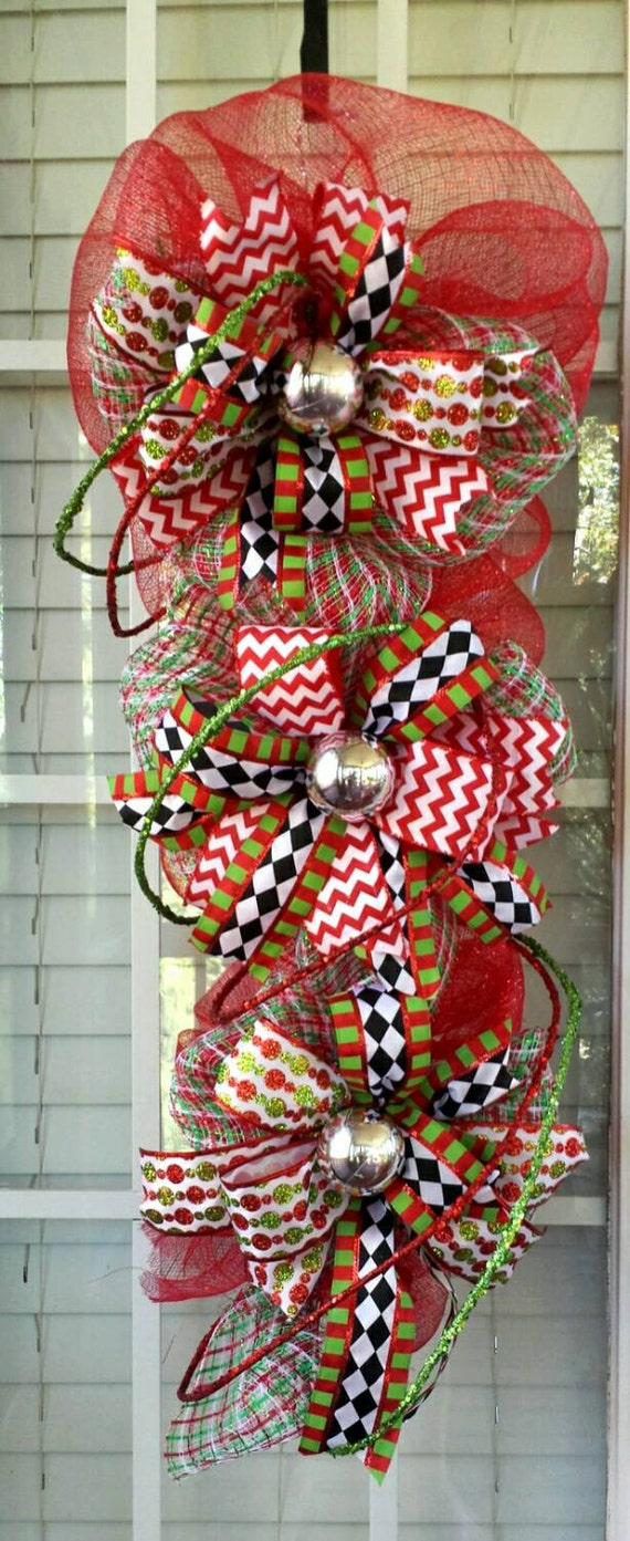 Front door deco mesh christmas decorations - Sale Deco Mesh Christmas Front Door Swag Holiday Swag Red And Green