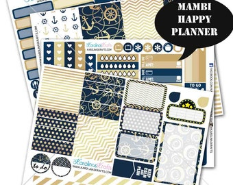 Nautical Navy and Gold Planner Kit 200+ Happy Planner Stickers, Mambi Planner Sticker kit, Weekly Planner Kit, Summer Stickers #SQ00902-MHP