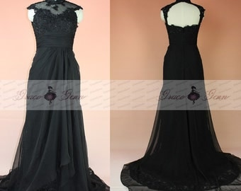 Mother Of The Bride Dress,Black Evening Gown,Special Occasion Womens Dresses,Cap Sleeve Beaded Lace Formal Dress,Mother Of The Bride Gowns
