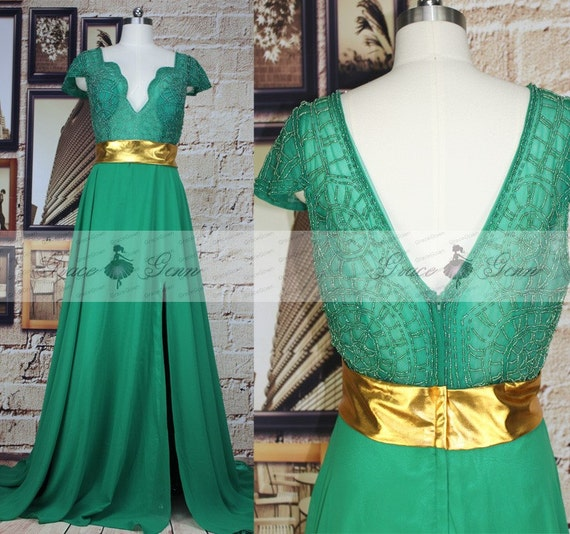 items similar to emerald green prom dresses beaded