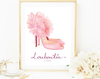 Christian Louboutin Shoes Artwork. Watercolor artwork. French Couture Print. Fashion Illustration. Modern Home Décor.