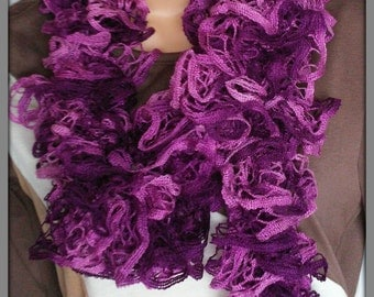 Purple ruffle scarf, Knitted scarf, Frilly scarf, Hand knitted scarf, Womens knit ware