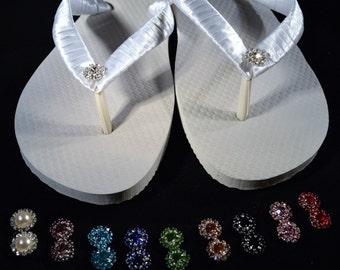 Wedding Wedge Flip Flops *You Pick Rhinestone Color* pink, purple, blue, green, red, black, peach, aqua