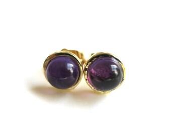 Amethyst Earrings, Amethyst Stud, February Birthstone, Amethyst Gold Post, Purple stud Earrings, 6mm Stud Earring, Gift for Her