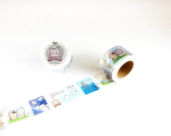Animal Stamps Washi Tape by Little Path x Roundtop Masking Tape -  Postal Mail Travel Travelers Trip Taiwanese Artist Washi