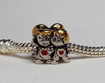 Couple Charm Spacer Darling Couple Kissing! Bashful Little Girl!  -Fits all Designer and European Charm Bracelets