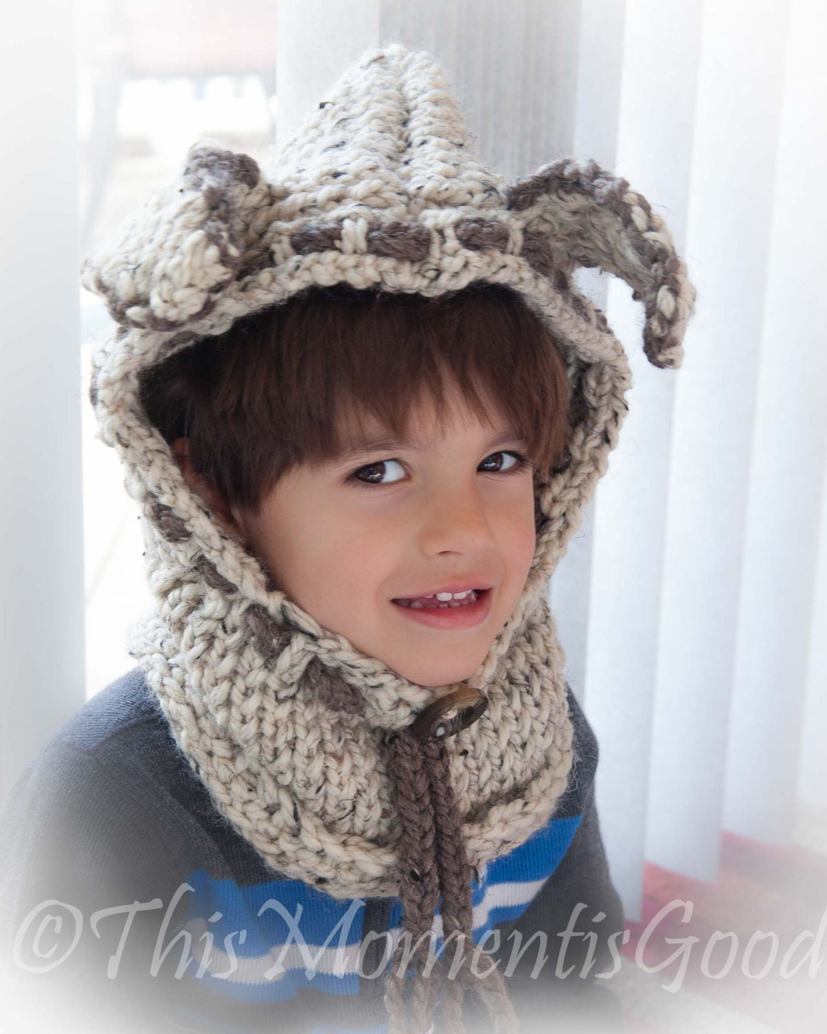 Dog Cowl Knitting Pattern : Loom Knit Puppy Dog Hood with cowl PATTERN. Rustic Chunky