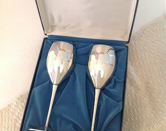 Vintage DeUberti Silverplated Wine Goblets with Case