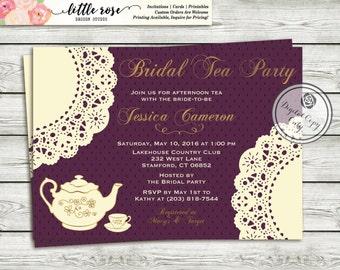 Doily Bridal Tea Party Bridal Shower Invitation - High Tea Invitation - Bridal Shower Invite - Printable Invitation - Digital File - LR1002