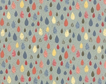Rain Fabric, Mon Ami 30414 17, Moda Basic Grey, Pluie Bleu, Raindrops Quilt Fabric, Rain Quilt Fabric, Cotton Yardage