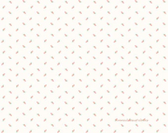 White Rosebud Fabric, Riley Blake Sew Charming C4546 White, Bo Bunny, Coral Rosebuds Quilt Fabric, Cotton Quilt Fabric