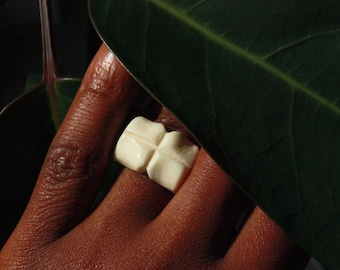 Bone Ring Unusual Geometric Style. Polished&Hand Carved in White. Organic/Artisanal. Ethically Handmade in West Africa. US 8/UK Q  Free ship