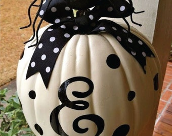 Monogram Decal With Polka Dots For Pumpkin Decoration, Jack O Lantern, Halloween Decor, Thanksgiving Decor, or Year Round Decor*