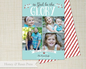 God be the Glory Christmas Photo Card  .   Family Photo Card  .  Christmas Card  .  Photo Card . Printable Card