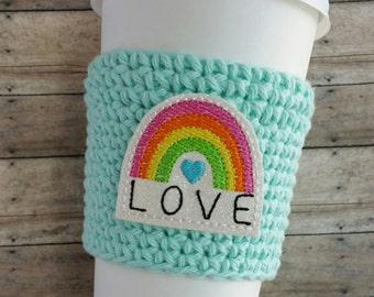 Rainbow Love Coffee Cozy