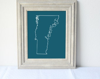 Printable Vermont State Art Print 8x10 Digital Wall Art Gift