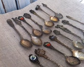 Lot 15 Vintage Souvenir Spoons Netherlands Germany Sweden Bermuda Collectables Craft Supplies Jewelry Making