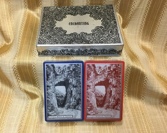 Enchanting Playing Cards, Double  Decks,US Playing Cards, Natural Bridge of Virginia, Silvertone Box, Sealed Card Decks