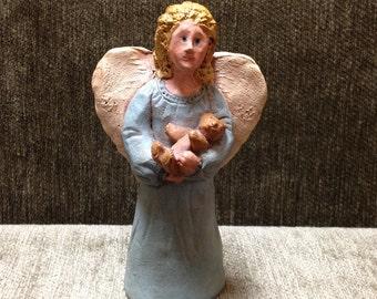 Angel Figurine, Molded Resin Composite Angel, 1986, Angel Holding Baby Bear Figurine, Folk Art Angel