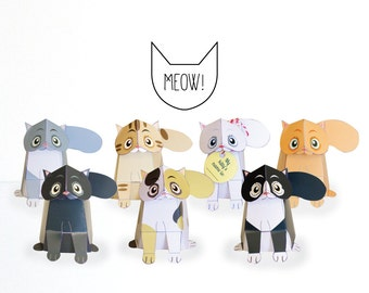 Kitty Cats - Printable DIY Paper craft Kit / 3D cat / Paper Cat toy / Cat Puppet / INSTANT DOWNLOAD - by Kooee Papercraft