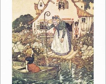 Snow Queen Hans Andersen vintage art nouveau print illustration folk tale fairy tale  Edmund Dulac 8.5x11.5 inches