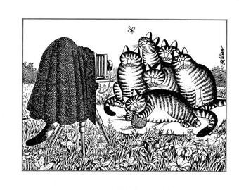 Kliban cat cartoon funny vintage print cats at a photoshoot feline illustration 8.5 x 10.25 inches