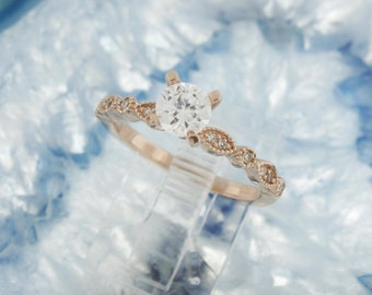 14 karat rose gold diamond semi mount engagement wedding solitiare ring perfect for your loose diamond or gemstone carats Made in the USA