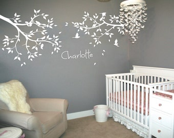 Nursery branch Wall decals Leaves birds Children's room wall decoration Nursery Branch sticker Personalized baby name - 101