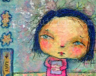 Up In Smoke - Original Mixed Media Painting -  SFA whimsical girl art - 4x4in canvas panel