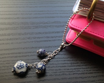 Planner charm blue & white ceramic beads with ball chain extender