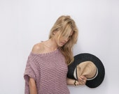 RESERVED for Kat. Open Back Knitted Top Sweater - Off the Shoulder Cotton Top - Loose fit ROY Top in Grey Ash.