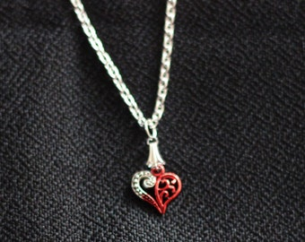 Alice in Wonderland Red Heart Hand painted vintage gothic fantasy Necklace