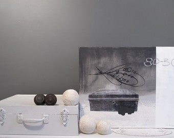 Original artwork, mixed media on canevas, Old chest, 16 x 20 inches