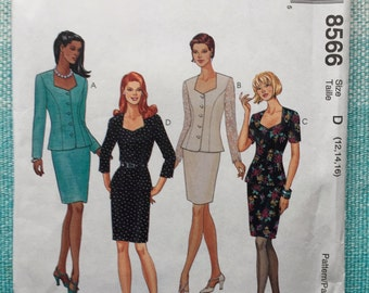 1990s McCall's 8566 Sewing Pattern Ladies Misses Suits Sweetheart Neckline Jacket Blazer Pencil Skirt Princess Seams Size 12-14-16