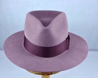 Light Violet Fur Felt Fedora -  Handshaped Teardrop Flat Brim Fedora - Men Women