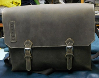 Briefcase in aged leather