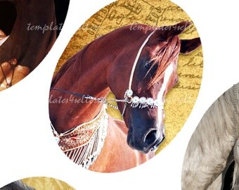 Digital Collage Sheet  30x40mm oval images Horse Original  Printable 4x6 inch sheet 264